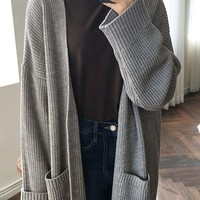 New Grey Pockets V-neck Long Sleeve Oversized Casual Cardigan Sweater