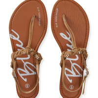 Blue Suede Shoes Shimmer Accent Braided T-Strap Sandal -