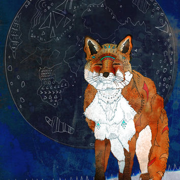 Lunar Kitsune - Open Edition Print, Fox Illustration, Fox Art Print, Fox Artwork, Whimsical, Moon Art Print, Pencil and Ink, Mixed Media