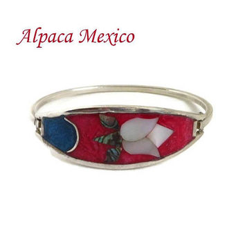 Vintage Alpaca Bracelet - Mexican Silver Hinged Flower Bracelet, Mother of Pearl Enameled Bangle