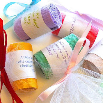 Seed Wedding Favors- 20 Colorful Wildflower Seed Tape Rolls with White Tulle, Wedding Favors, Showers, Garden Parties, Container Gardening