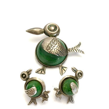 Taxco Sterling Silver Bird Demi, Brooch & Earrings Set, Green Stone Bellies, Stamped Plata Silver Details, Screw Back Earrings, Gift for Her