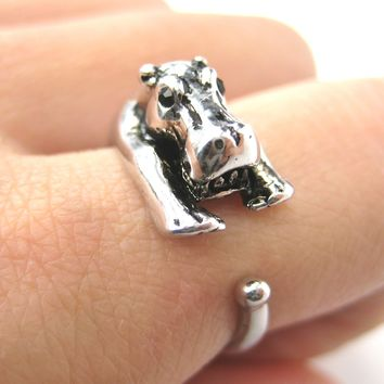 Hippo hippopotamus Animal Wrap Ring in Shiny Silver - Sizes 4 to 9 Available