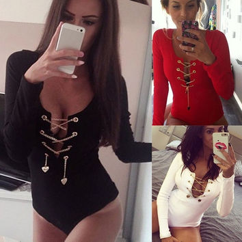 Trendy Fashion New European and American Metal Chain Sexy Lace Long Sleeve Deep V-piece Women's Underwear = 5709566721