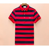 GUCCI 2018 new polo shirt men's simple bee lapel short-sleeved T-shirt F-A00FS-GJ Red+blue