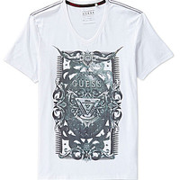 Guess Crest Graphic V-Neck Tee - Optic White