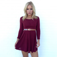 Flirt In Flare Dress In Burgundy