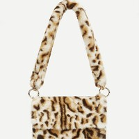 Leopard Pattern Faux Fur Shoulder Bag