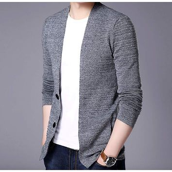 Mens V Neck Cardigan in Gray