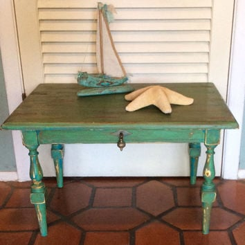 Vintage Shabby Chic Green Side Table