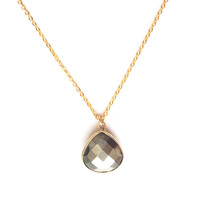 Pyrite Faceted Drop Pendant Necklace in Gold