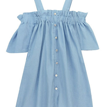 Button Front Denim Mini Dress
