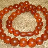 Antique Old Genuine Baltic Egg Yolk Amber Round Beads Necklace 36 Gr! Natural (56)