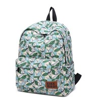 Green Leaves Backpack School Bag