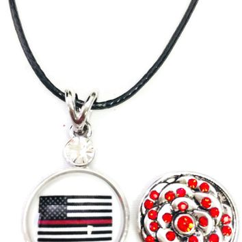 "USA American Flag America Firefighter Thin Red Line Snap on 18"" Leather Rope Diamond Pendant Necklace W/ Extra 18MM - 20MM Snap Charm"