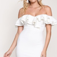 Hanging Tough Short Sleeve Off The Shoulder Ruffle Bodycon Mini Dress - 4 Colors Available (Pre-Order)