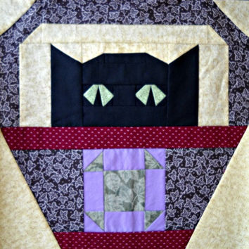 Shoo-Fly Cat Quilt Block Pattern
