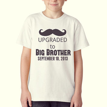 Boys - Upgraded To Big Brother - White T Shirt - Baby Announcements - Customizable