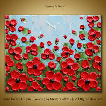 Original poppy art, 3d poppy painting, Red poppies art, Small poppy painting, Textured canvas art, Red floral painting, Red poppies painting