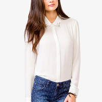 Rhinestoned Collar Chiffon Shirt