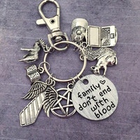 Family Don't End With Blood Keychain or Bag Clip, Supernatural Keychain, Team Free Will Accessories, Fandom Accessories, Fangirl Accessories