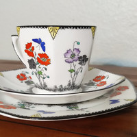 Antique Art Deco Foley Field Poppy teacup trio, tea trio, tea cup and saucer, dessert plate, J.C.S. & Co., English bone china, hexagon