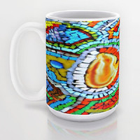 Sunset, Abstract, Fire, Mosaic, Red, Yellow, Blue - Ceramic Mug, 2 Sizes Available - Kitchen, Bathroom, Gift - Made To Order - SFG#64