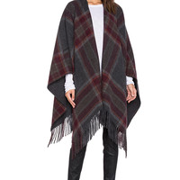 Theory Saiome Plaid Poncho in Charcoal & Brick