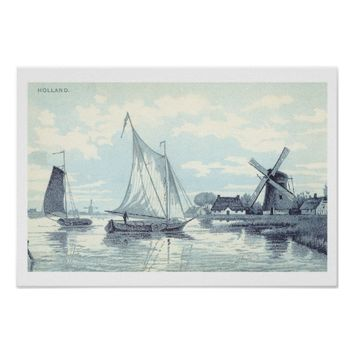Vintage Postcard of a scene in Holland Print