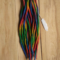 Wool Dreads, Rainbow Wool Dreadlocks, Hippie Dreads, Festival dreads, festival hair