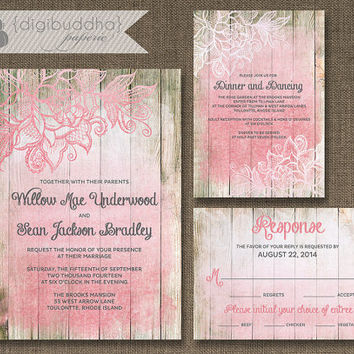 Blush Pink Ombre Wood Wedding Invitation 3 Piece Suite Reception Response RSVP Shabby Chic Beach Floral Lace DIY Digital or Printed - Willow