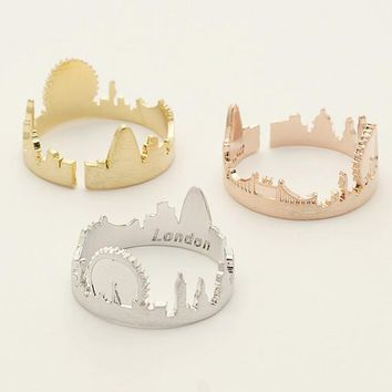 London Ring / cityscape ring, souvenir London, skyline ring, city ring, adjustable ring / R137