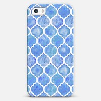 Cornflower Blue Moroccan Watercolor Pattern iPhone 5s case by Micklyn Le Feuvre | Casetagram