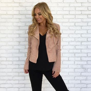 Soft Suede Moto Jacket in Blush Pink