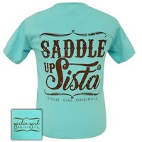 Girlie Girl Originals Preppy Saddle Up Sista Comfort Colors Lagoon Blue T-Shirt