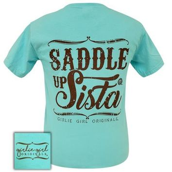 Girlie Girl Originals Preppy Saddle Up Sista Lagoon Blue T-Shirt