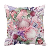 Pink Paradise Garden Watercolor Flowers Throw Pillow