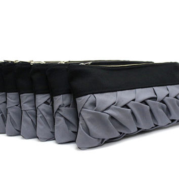 Set of 6 Bridesmaid Clutch,Black Bridesmaids Purse,Wedding Party Gift,Black Gray Clutch,Small Black Purse,Bridesmaid Gift,Gray Bridal Clutch
