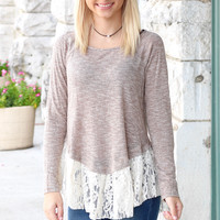 Striking Lace Trimmed Long Sleeve Knit {Chestnut}