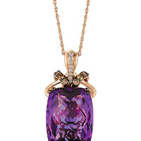 Levian 14Kt Rose Gold Amethyst and Diamond Pendant Necklace