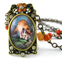 Fox Necklace, Antiqued Metal Pendant, Orange Jewelry, Red Fox, Spring Jewelry, Animal Pendant, Nature Jewelry