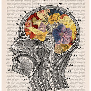 Valentine gift ,Flowery brain Poster, A3 poster, anatomical art, home decor, Wall art, anatomy art, Giclee poster, Flower poster PSK053