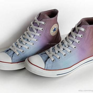 Ombr¨¦ dip dye Converse All Stars, light blue, purple, brown, upcycled vintage sneakers