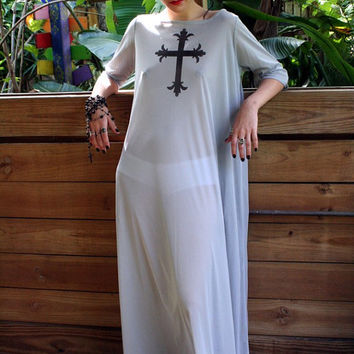 Grey Nylon Cross Nightgown Hand Painted Sleepwear Lingerie Tunic Travel Cruise Holiday Goth