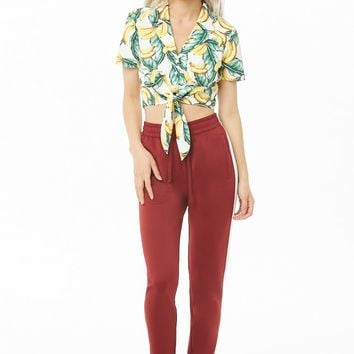 Banana & Leaf Print Crop Top