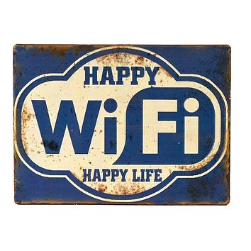 Iron Sign Happy Wifi