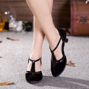 New Women Ladies Ballroom Party Latin Dance Shoes Closed Toe Black Moderin Dancing Shoes Tango Salsa Performance Heels