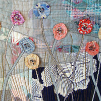 Art Quilt Garden in the night by BozenaWojtaszek on Etsy