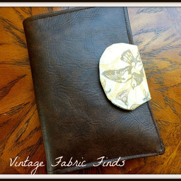 Brown Vinyl Faux Leather Yellow Floral Bird and Bees eReader Cover Kindle, Nook Cover, Kobo Cover, Kindle Fire Cover, Kindle Touch Cover