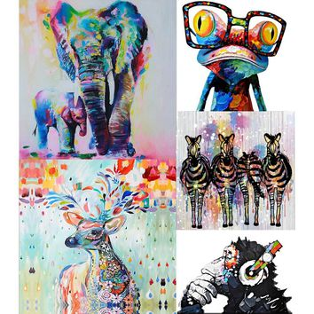 Newest HD Photo Warm Oil Painting Watercolor Painting Print Canvas (Style:Elephant,Zebra,Frog,Deer,Gorilla)
